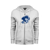 ENZA Ladies White Fleece Full Zip Hoodie-Buccaneer Head