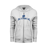 ENZA Ladies White Fleece Full Zip Hoodie-Arched Buccaneers