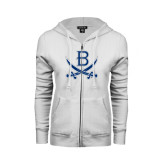 ENZA Ladies White Fleece Full Zip Hoodie-B w/Swords