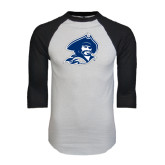 White/Black Raglan Baseball T-Shirt-Buccaneer Head