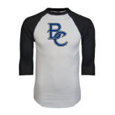 White/Black Raglan Baseball T-Shirt-Interlocking BC