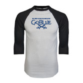 White/Black Raglan Baseball T-Shirt-Blinn Buccaneers Go Blue