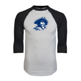 White/Black Raglan Baseball T-Shirt-Buccaneer Head Distressed