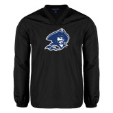 V Neck Black Raglan Windshirt-Buccaneer Head