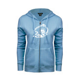 ENZA Ladies Light Blue Fleece Full Zip Hoodie-Buccaneer Head