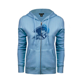 ENZA Ladies Light Blue Fleece Full Zip Hoodie-Buccaneer Head Foil
