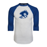 White/Royal Raglan Baseball T Shirt-Buccaneer Head