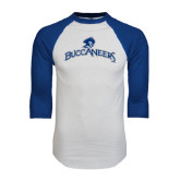 White/Royal Raglan Baseball T Shirt-Arched Buccaneers