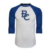 White/Royal Raglan Baseball T Shirt-Interlocking BC