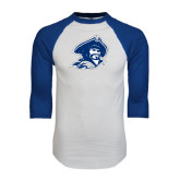 White/Royal Raglan Baseball T Shirt-Buccaneer Head Distressed