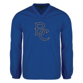 V Neck Royal Raglan Windshirt-Interlocking BC