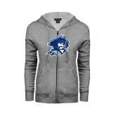ENZA Ladies Grey Fleece Full Zip Hoodie-Buccaneer Head