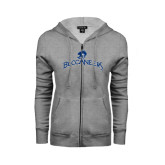 ENZA Ladies Grey Fleece Full Zip Hoodie-Arched Buccaneers