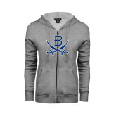 ENZA Ladies Grey Fleece Full Zip Hoodie-B w/Swords