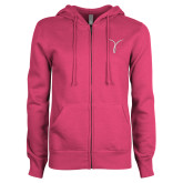 ENZA Ladies Fuchsia Fleece Full Zip Hoodie-Kay Yow Breast Cancer Fund Ribbon
