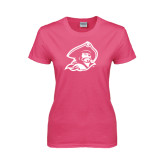 Ladies Fuchsia T Shirt-Buccaneer Head