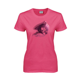 Ladies Fuchsia T Shirt-Buccaneer Head Foil