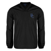V Neck Black Raglan Windshirt-Interlocking BC