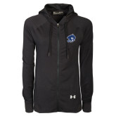 Ladies Under Armour Black Varsity Full Zip Hoodie-Buccaneer Head