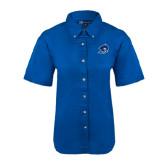 Ladies Royal Twill Button Down Short Sleeve-Buccaneer Head