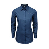 Ladies Deep Blue Tonal Pattern Long Sleeve Shirt-Arched Buccaneers