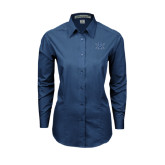 Ladies Deep Blue Tonal Pattern Long Sleeve Shirt-B w/Swords