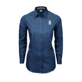 Ladies Deep Blue Tonal Pattern Long Sleeve Shirt-Blinn Institutional Stacked