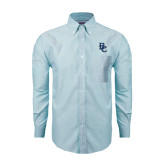 Mens Light Blue Oxford Long Sleeve Shirt-Interlocking BC