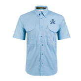 Light Blue Short Sleeve Performance Fishing Shirt-B w/Swords
