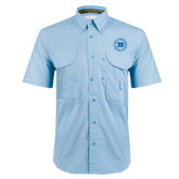 Light Blue Short Sleeve Performance Fishing Shirt-Alumni Lettermen Association