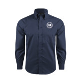 Red House Deep Blue Herringbone Long Sleeve Shirt-Alumni Lettermen Association