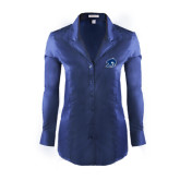 Ladies Red House Deep Blue Herringbone Non Iron Long Sleeve Shirt-Buccaneer Head