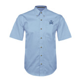 Light Blue Twill Button Down Short Sleeve-B w/Swords