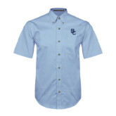 Light Blue Twill Button Down Short Sleeve-Interlocking BC