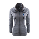 Ladies Sport Wick Stretch Full Zip Charcoal Jacket-Buccaneer Head