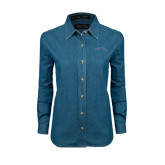 Ladies Denim Long Sleeve Shirt-Arched Buccaneers