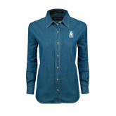 Ladies Denim Long Sleeve Shirt-Blinn Institutional Stacked