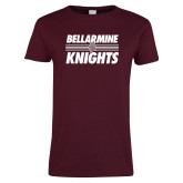 Ladies Maroon T Shirt-Bellarmine Knights Stripes