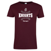 Ladies Maroon T Shirt-Knights Softball Seams