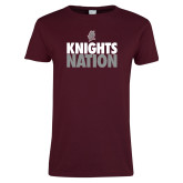 Ladies Maroon T Shirt-Knights Nation