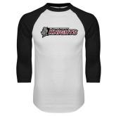 White/Black Raglan Baseball T-Shirt-Official Logo Flat