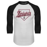 White/Black Raglan Baseball T-Shirt-Knights Baseball Script w/ Plate