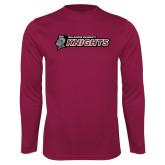 Performance Maroon Longsleeve Shirt-Official Logo Flat