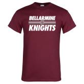 Maroon T Shirt-Bellarmine Knights Stripes