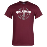 Maroon T Shirt-Bellarmine Basketball Arched w/ Ball