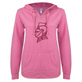 ENZA Ladies Hot Pink V Notch Raw Edge Fleece Hoodie-Knight Head Hot Pink Glitter
