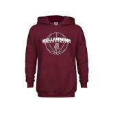 Youth Maroon Fleece Hoodie-Bellarmine Basketball Arched w/ Ball