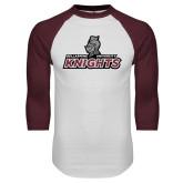 White/Maroon Raglan Baseball T Shirt-Official Logo