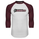 White/Maroon Raglan Baseball T Shirt-Official Logo Flat
