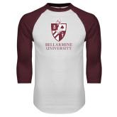 White/Maroon Raglan Baseball T Shirt-Bellarmine University Logo